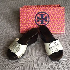 Tory Burch white patent leather wedges, size 8